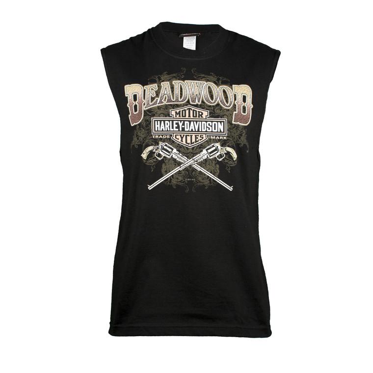 Deadwood Harley-Davidson® Men's Wild Bill Guns Black Sleeveless T-Shirt