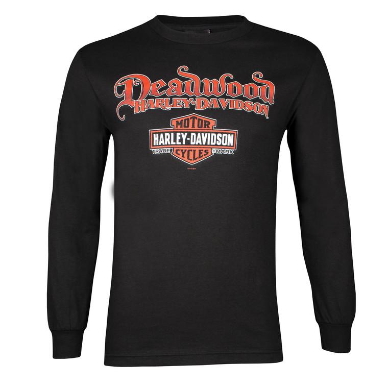 Deadwood Harley-Davidson® Men's Skull Rider Black Long Sleeve Shirt
