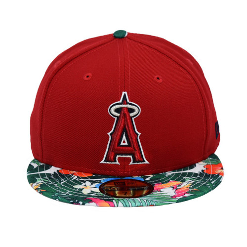 Rasberry Prince 59fifty Hat - HeadwearFitted - Los Angeles Angels -  - Primary - Red - New Era
