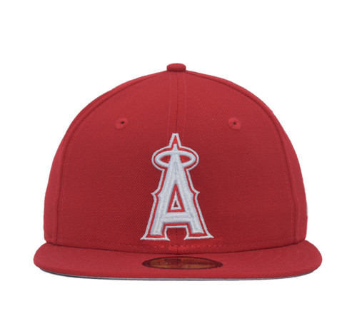 Red White 59fifty  - HeadwearFittedMens - Los Angeles Angels -  - Primary - Red - New Era