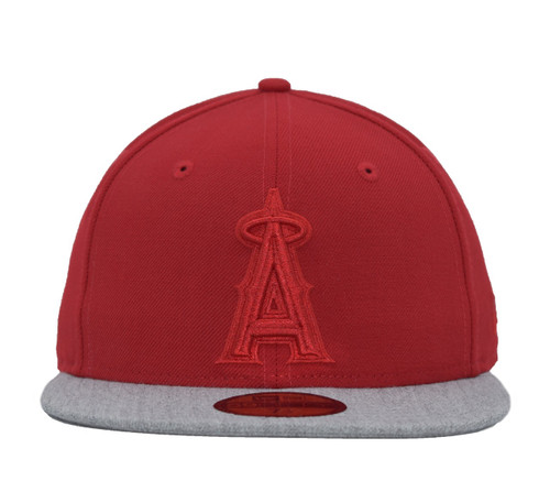 Tonal Red Heather Visor 59fifty  - HeadwearFittedMens - Los Angeles Angels -  - Primary - Red - New Era