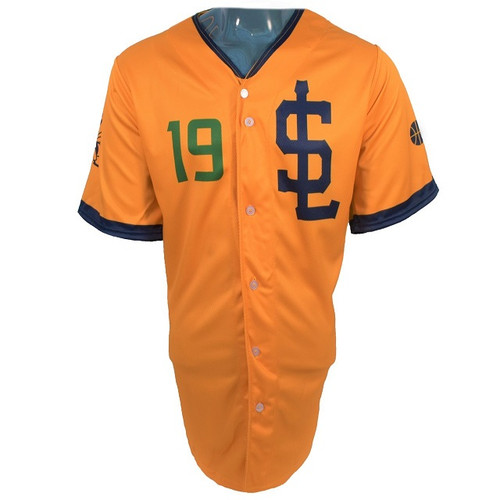 Jazz Bees Authentic Jersey - NoveltyCollectiblesMemorabilia - Salt Lake Bees - 19 - Gold -