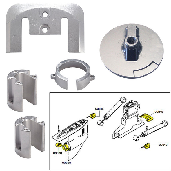 Tecnoseal Anode Kit w\/Hardware - Mercury Bravo 1 - Zinc [20803]