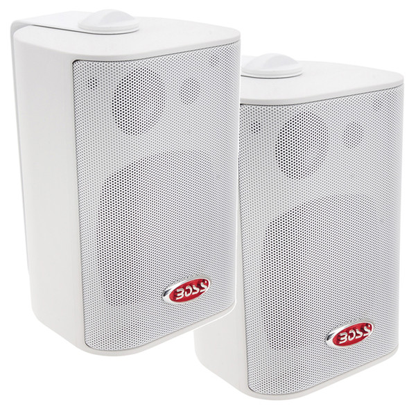 "Boss Audio MR4.3W 4"" 3-Way Marine Enclosed System Box Speakers - 200W - White [MR4.3W]"