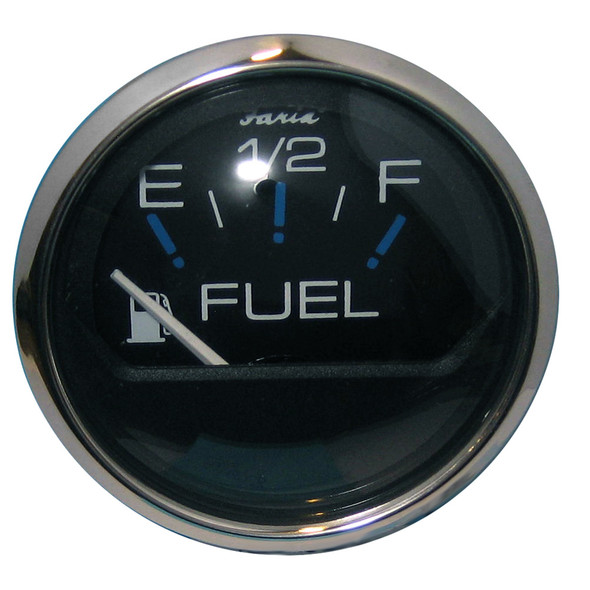 "Faria Chesapeake Black SS 2"" Fuel Level Gauge (E-1/2-F) [13701]"