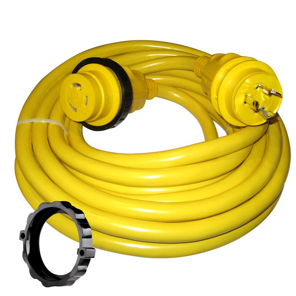 Marinco 30 Amp Power Cord Plus Cordset - 35' - Yellow [35SPP]