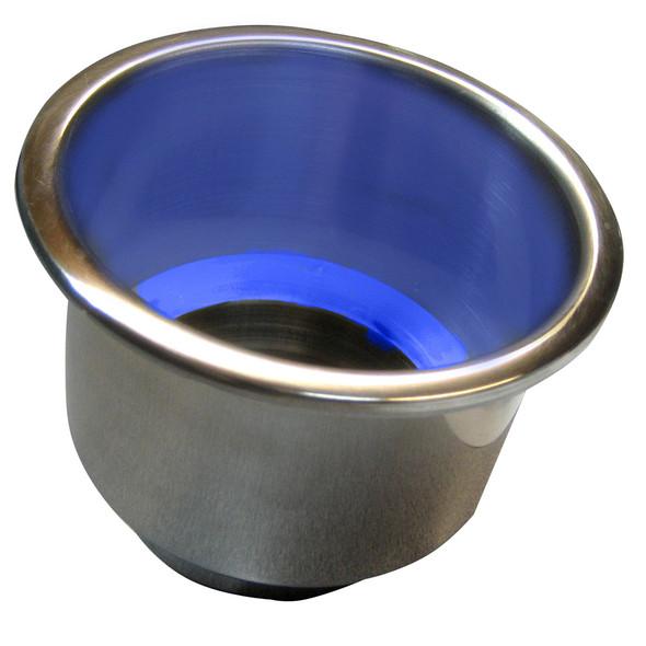 Whitecap Flush Mount Cup Holder w/Blue LED Light - Stainless Steel [S-3511BC]