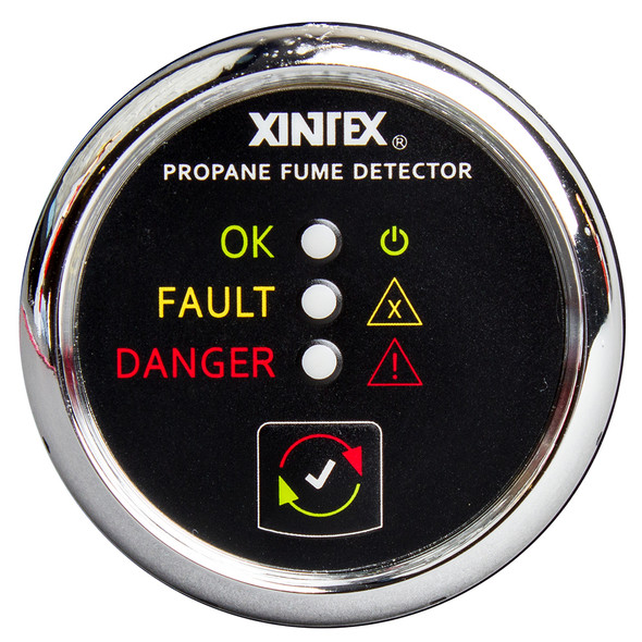 Xintex Propane Fume Detector w/Plastic Sensor - No Solenoid Valve - Chrome Bezel Displa [P-1C-R]