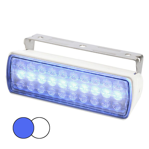 Hella Marine Sea Hawk XL Dual Color LED FloodLights - Blue/White LED - White Housing [980950071]