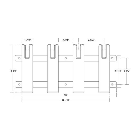 TACO Aluminum\/Poly 4-Rod Rack Holder [F31-3104BXZ-1]