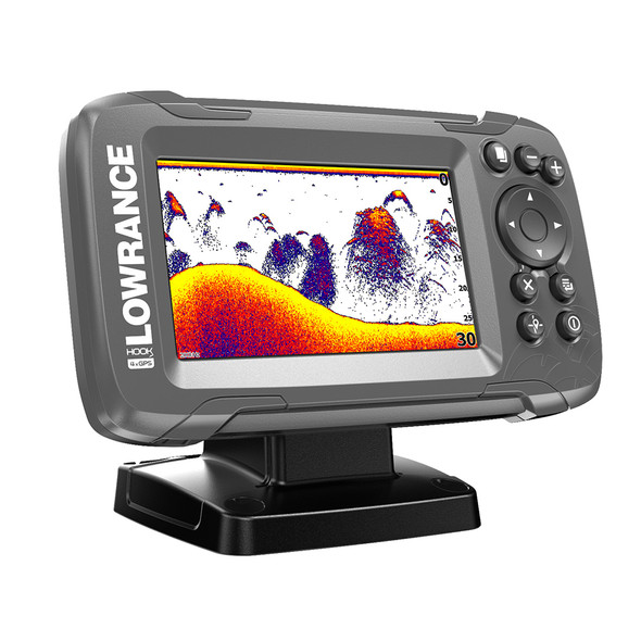 "Lowrance HOOK2 4x 4"" GPS Bullet Fish finder w/Track Plotter Transom Mount Bullet Skimmer Transducer [000-14014-001]"