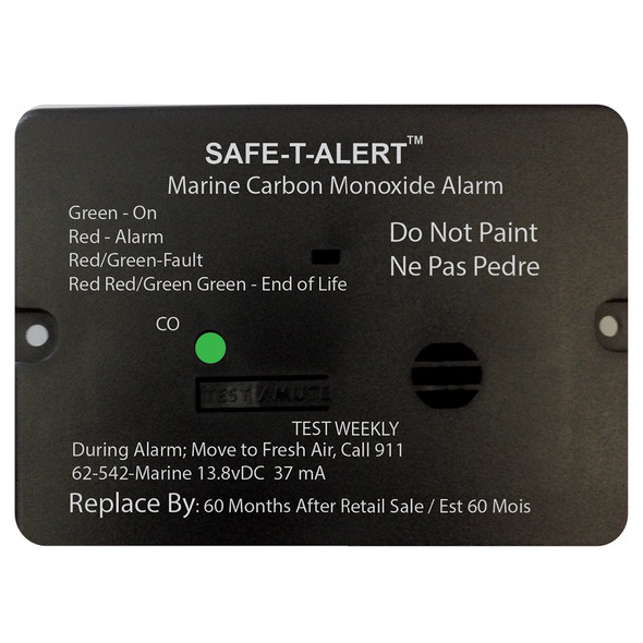 Safe-T-Alert 62 Series Carbon Monoxide Alarm w/Relay - 12V - 62-542-R-Marine - Flush Mount - Black [62-542-R-MARINE-BL]