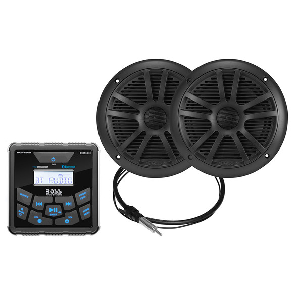 "Boss Audio MCKGB450W.6 Marine Package - Bluetooth(Audio Streaming) In-Dash Marine Gauge Digital Media AM\/FM Receiver w\/6.5"" Speakers - Black [MCKGB450B.6]"