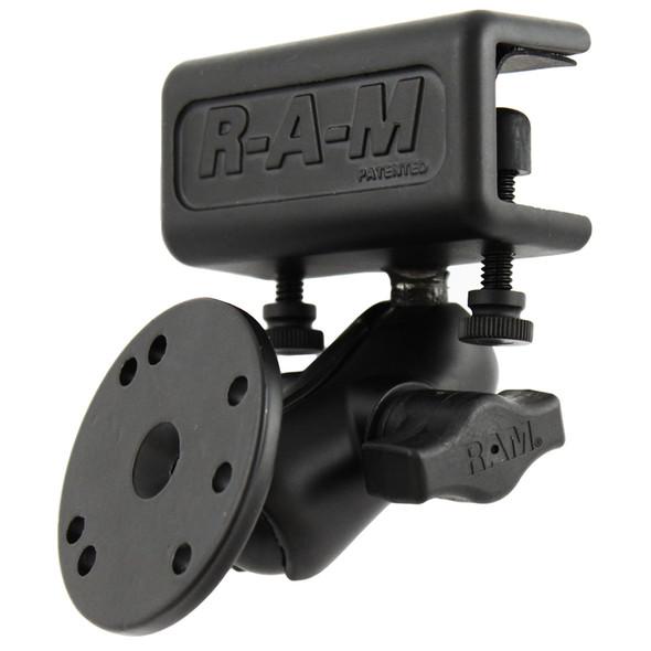 RAM Mount Glare Shield Clamp Mount w\/Short Double Socket Arm & Round Base Adapter w\/AMPs Hole Pattern [RAM-B-177-202U]