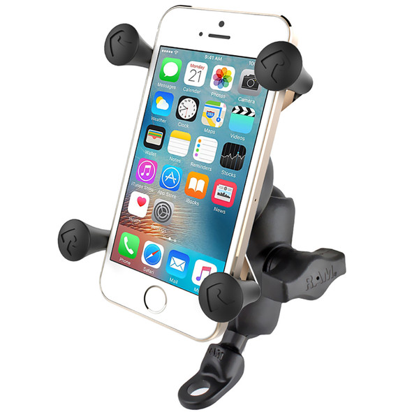 RAM Mount 9mm Angled Base Motorcycle Mount w\/Short Double Socket Arm  Universal X-Grip Cell\/iPhone Cradle [RAM-B-272-A-UN7]