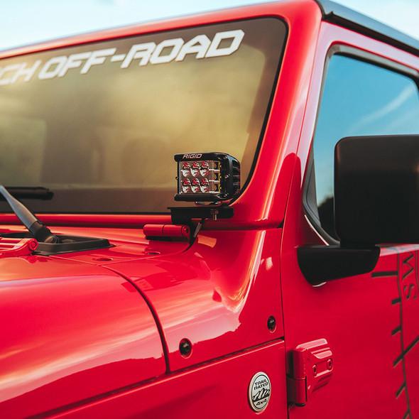 RIGID Industries 2018 Jeep Wrangler JL A-Pillar Mount f\/2 D-Series, D-SS, SR-M or Ignite Lights [41659]