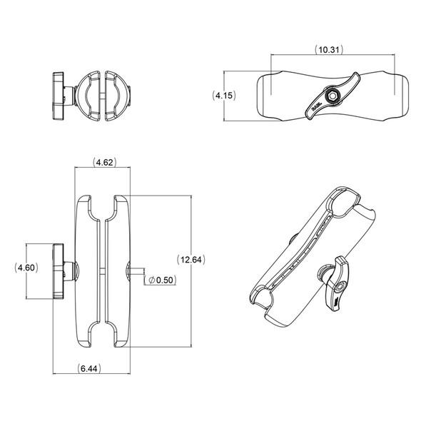 "RAM Mount Double Socket Arm f\/3.38"" E Size Ball Bases [RAM-E-201U]"