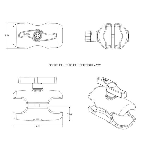 "RAM Mount Double Socket Short Arm f\/3-3\/8"" E Size Ball Base [RAM-E-201U-D]"