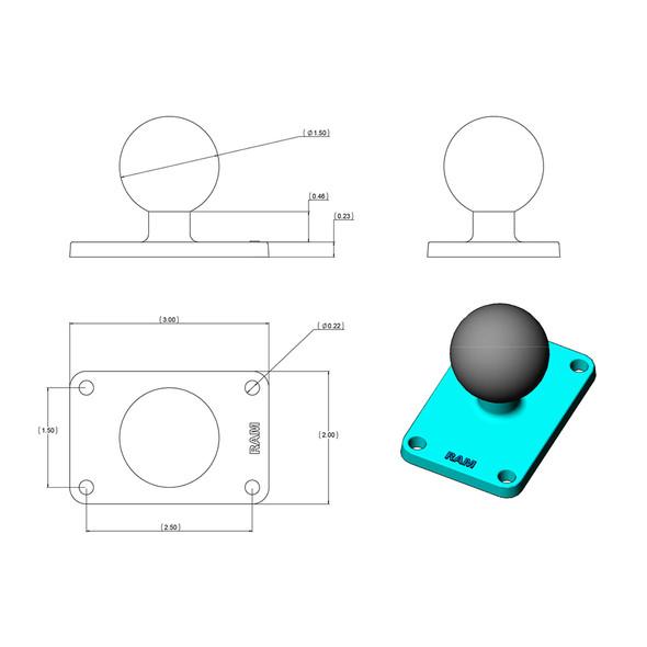 "RAM Mount 2"" x 3"" Rectangle Base w\/1.5"" Ball [RAM-202U-23]"