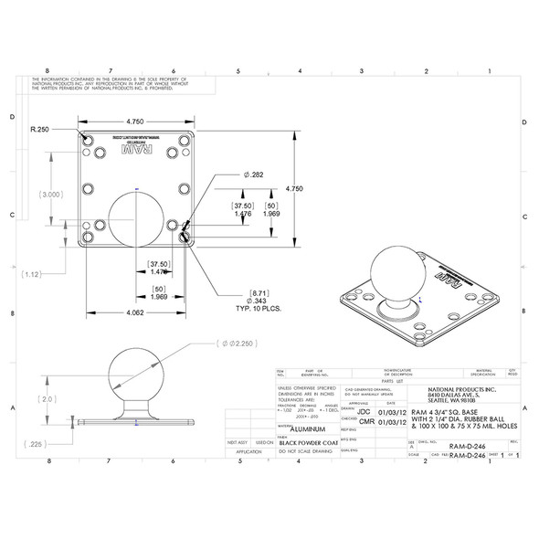 "RAM Mount 4.75"" Square VESA Vase w\/2.25"" Ball [RAM-D-246U]"