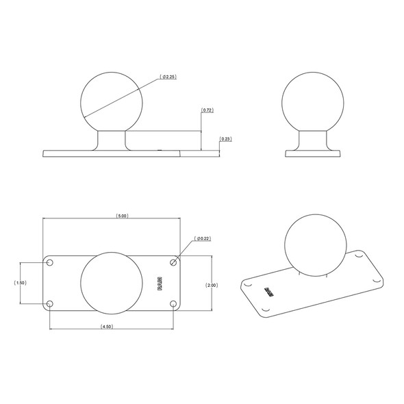 "RAM Mount 2"" x 5"" Rectangle Base w\/2.25"" Ball [RAM-D-202U-25]"