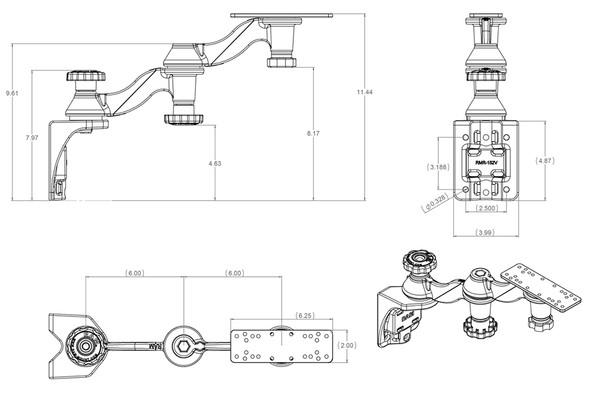 "RAM Mount Vertical Double 6"" Swing Arms w\/6.25"" X 2"" Rectangle Base & Vertical Mounting Base [RAM-109V-1U]"
