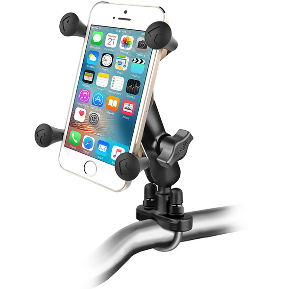 RAM Mount Handlebar Rail Mount w\/Zinc Coated U-Bolt Base and Universal X-Grip Cell\/iPhone Cradle [RAM-B-149Z-UN7U]