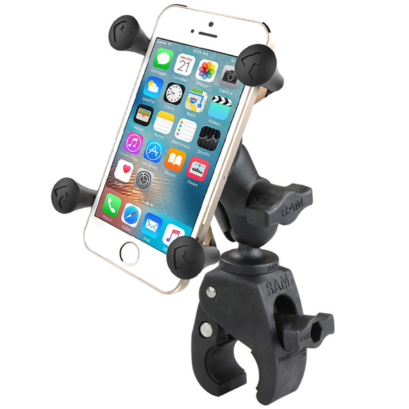 RAM Mount Small Tough-Claw Base w\/Short Double Socket Arm and Universal X-Grip Cell\/iPhone Cradle [RAM-B-400-A-HOL-UN7BU]