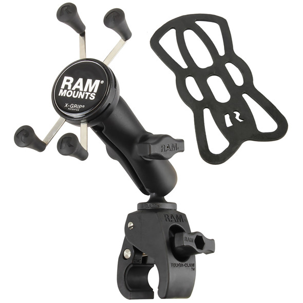RAM Mount Small Tough-Claw Base w\/Double Socket Arm  Universal X-Grip Cell\/iPhone Cradle [RAM-B-400-UN7]