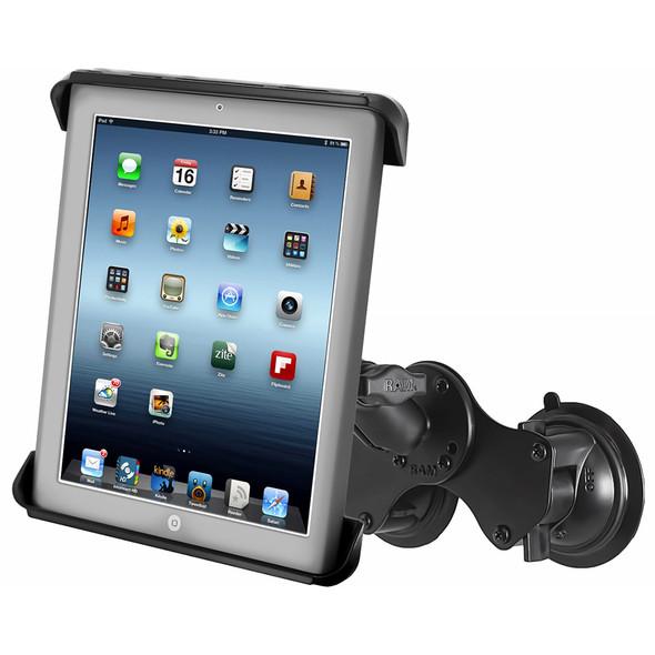 RAM Mount Double Twist-Lock Suction Cup Mount w\/Tab-Tite Universal Spring Loaded Cradle f\/Apple iPad 1-4 w\/or w\/o Light Duty Case [RAM-B-189-TAB3U]