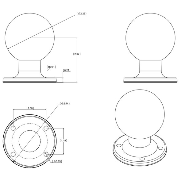 "RAM Mount D Size 2.25"" Ball on Round Plate w\/AMPS Hole Pattern [RAM-D-254U]"