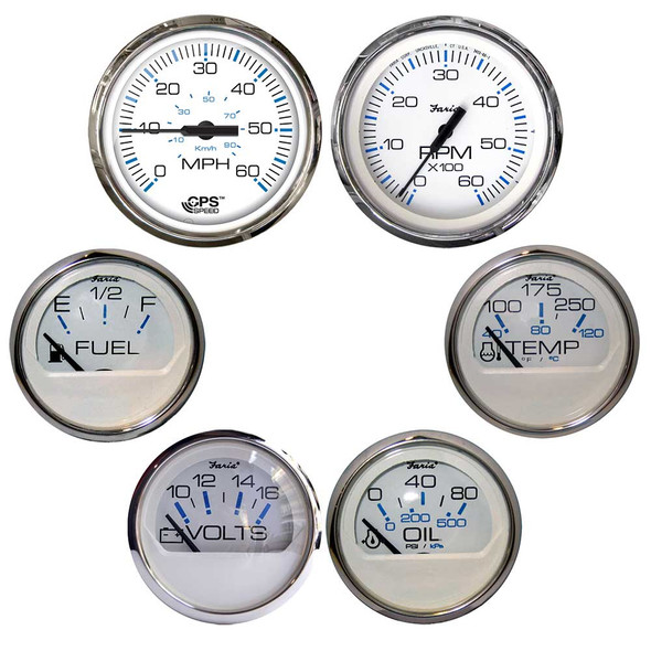 Faria Chesapeake White w\/Stainless Steel Bezel Boxed Set of 6 - Speed, Tach, Fuel Level, Voltmeter, Water Temperature  Oil PSI [KTF063]