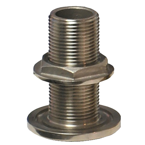 """GROCO 1-1/2"""" NPS NPT Combo Stainless Steel Thru-Hull Fitting w/Nut [TH-1500-WS]"""