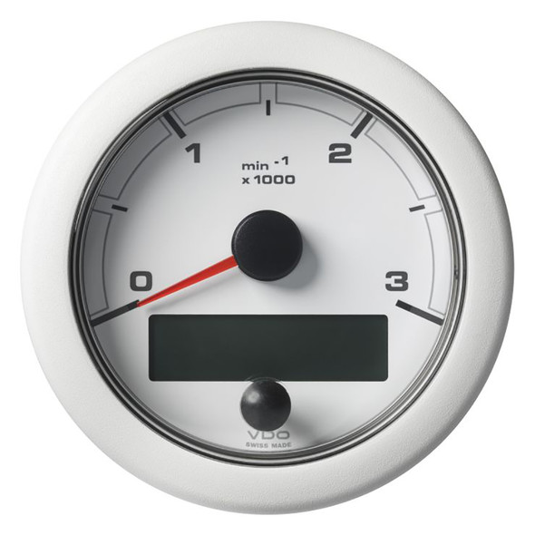 """VDO 3-3/8"""" (85mm) OceanLink NMEA 2000 Tach - 3000 RPM - White Dial  Bezel [A2C1065670001]"""