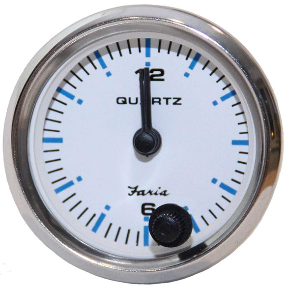"Faria 2"" Clock Chesapeake White w/Stainless Steel Bezel - Quartz Analog [13891]"