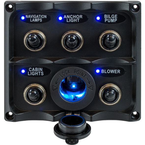 Sea-Dog Water Resistant Toggle Switch Panel w/LED Power Socket - 5 Toggle [424627-1]