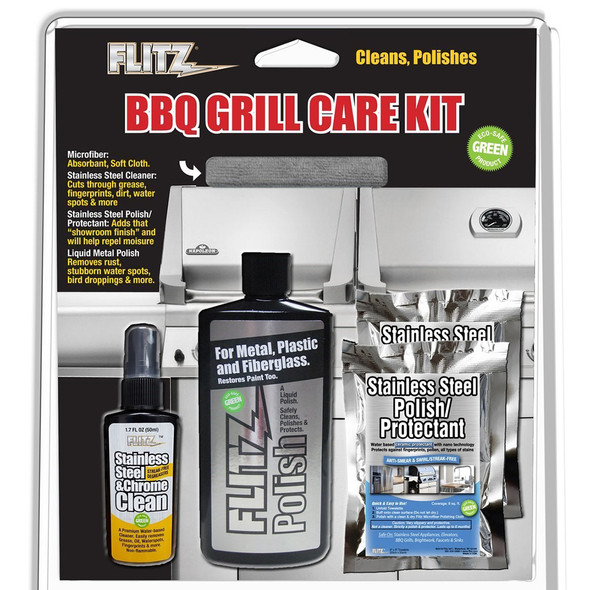 Flitz BBQ Grill Care Kit w\/Liquid Metal Polish, Stainless Steel Cleaner, Stainless Steel Polish\/Protectant Towelettes  Microfiber Cloth [BBQ 41504]