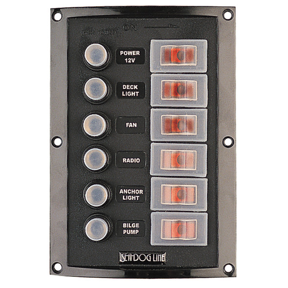 Sea-Dog Splash Guard Circuit Breaker Panel - 6 Circuit [424806-1]