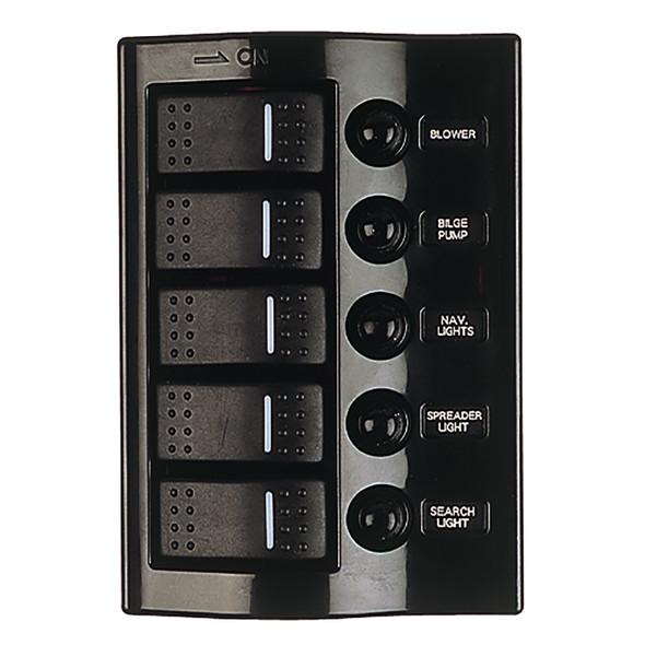 Sea-Dog Nylon Circuit Breaker Panel - 5 Circuit - Wave Style [425800-1]