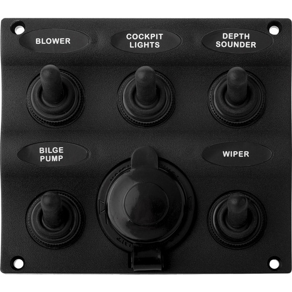Sea-Dog Nylon Switch Panel - Water Resistant - 5 Toggles w/Power Socket [424605-1]