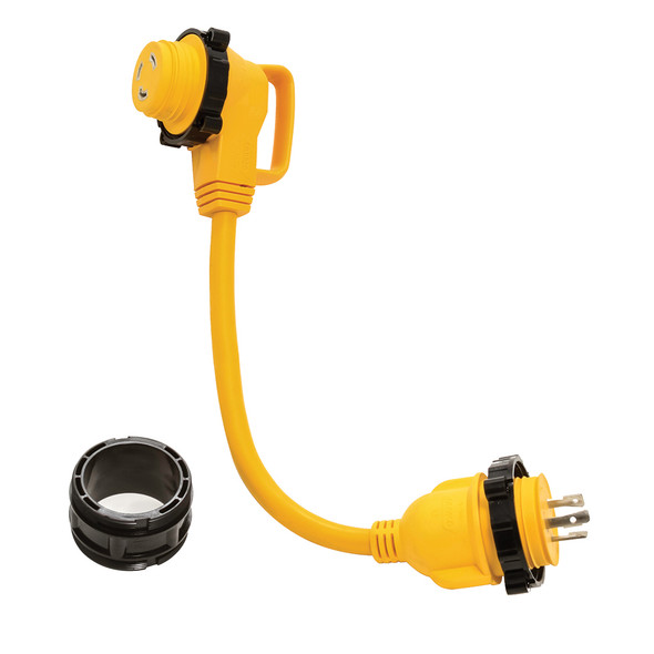"Camco 30 Amp Power Grip Marine 18"" Dogbone - M-Lock\/90F-Locking Adapter [55617]"