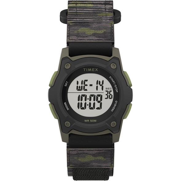 Timex Kids Digital 35mm Watch - Green Camo w/Fastwrap Strap [TW7C77500XY]