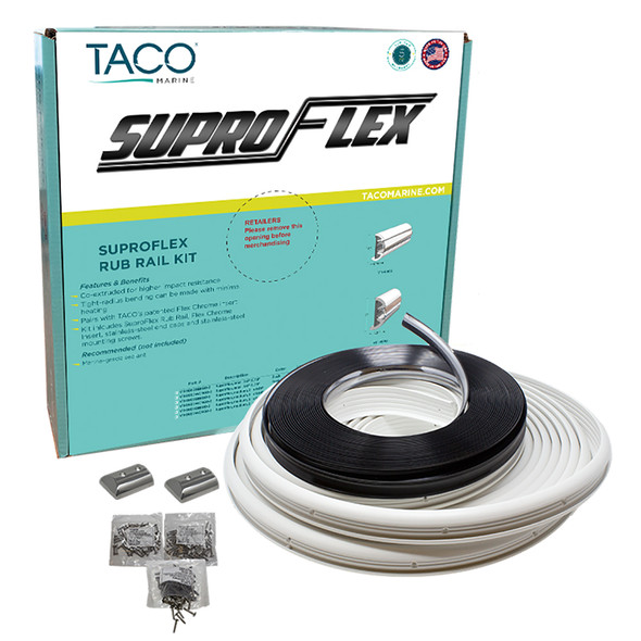 "TACO SuproFlex Rub Rail Kit - White w/Flex Chrome Insert - 1.6""H x .78""W x 60L [V11-9960WCM60-2]"