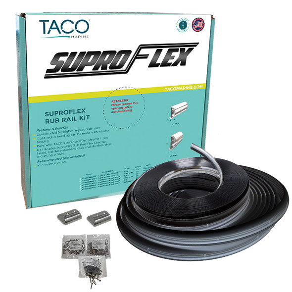 "TACO SuproFlex Rub Rail Kit - Black w/Flex Chrome Insert - 2""H x 1.2""W x 80L [V11-9990BBK80-2]"