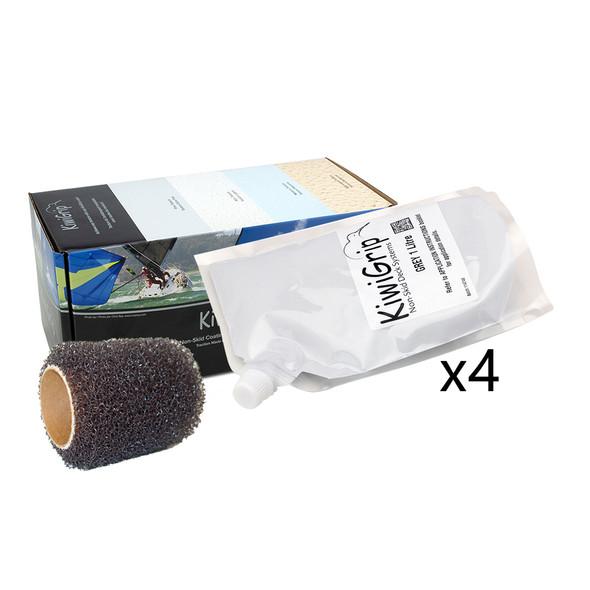 """KiwiGrip 4 - 1 Liter Pouches - Grey w/4"""" Roller [KG-4GP-R]"""