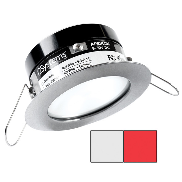 i2Systems Apeiron PRO A503 - 3W Spring Mount Light - Round - Cool White  Red - Brushed Nickel Finish [A503-41AAG-H]