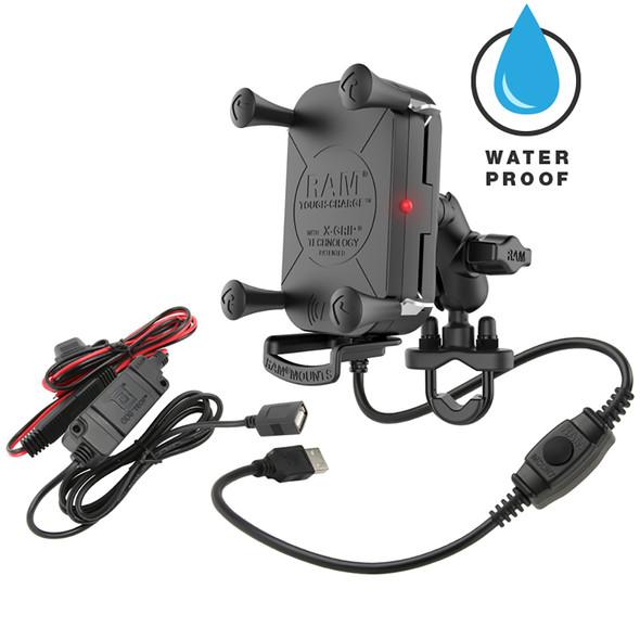 RAM Mount Tough-Charge Waterproof Wireless Charging Motorcycle Mount [RAM-B-149Z-A-UN12W-V7M]