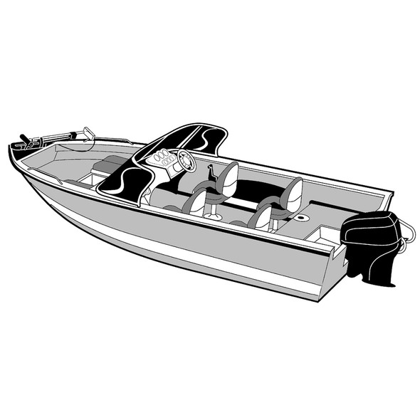 Carver Performance Poly-Guard Wide Series Styled-to-Fit Boat Cover f\/18.5 Aluminum V-Hull Boats w\/Walk-Thru Windshield - Grey [72318P-10]