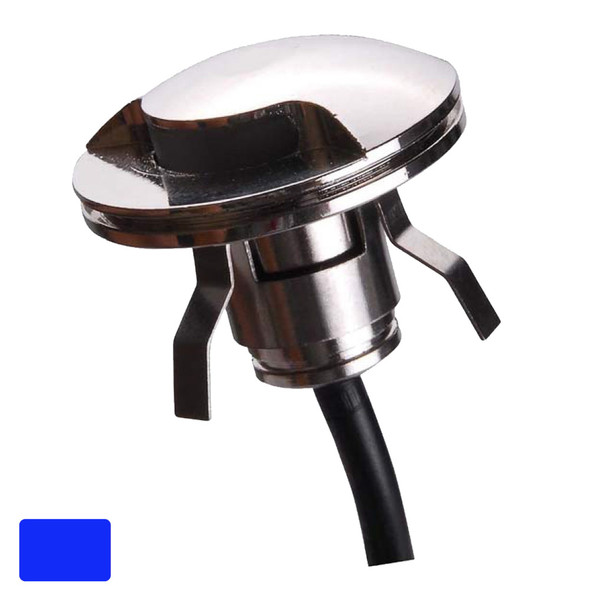 Lunasea 316 Polished Stainless Steel LED Waterproof Courtesy Light - Blue - 12VDC Only [LLB-571B-01-00]