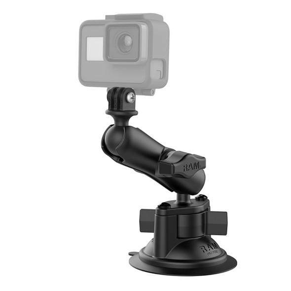 RAM Mount RAM Twist-Lock Suction Cup Mount w\/Universal Action Camera Adapter [RAM-B-166-GOP1U]